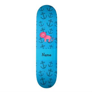 Teste padrão azul personalizado das âncoras do leã shape de skate 21,6cm