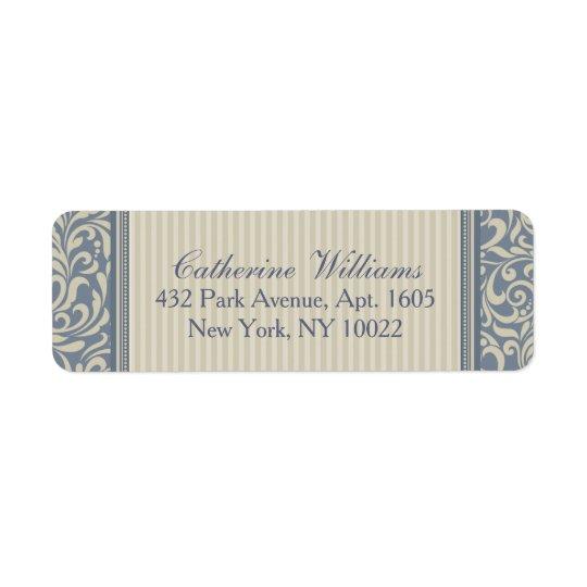 Teste padrão barroco azul e bege elegante etiqueta endereço de retorno