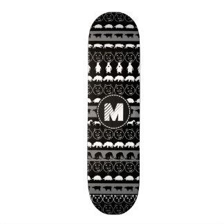 Teste padrão bonito branco preto #2 dos animais do shape de skate 20,6cm