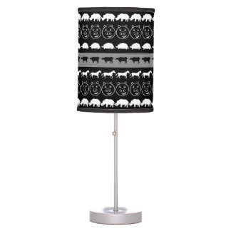 Teste padrão bonito branco preto #2 dos animais luminária