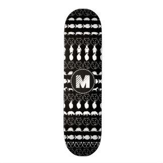 Teste padrão bonito branco preto dos animais do shape de skate 18,4cm