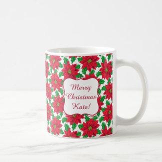 Teste padrão bonito da poinsétia do Natal no Caneca De Café