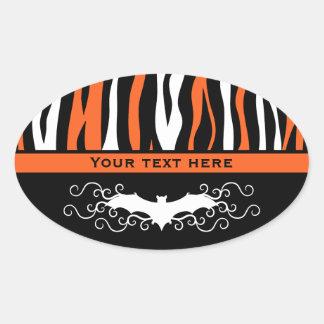 Teste padrão bonito da zebra do Dia das Bruxas Adesivo Oval