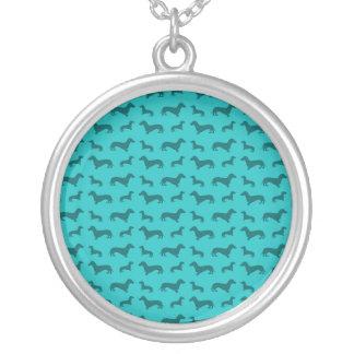 Teste padrão bonito do dachshund de turquesa colar com pendente redondo