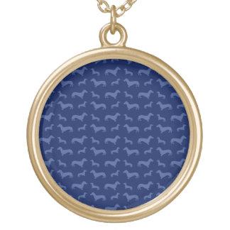 Teste padrão bonito do dachshund dos azuis colar com pendente redondo