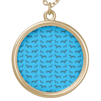 Teste padrão bonito do dachshund dos azul-céu colar com pendente redondo