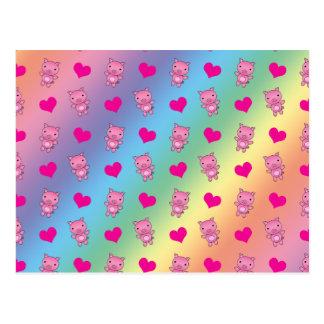 Teste padrão bonito dos corações de porco do cartão postal