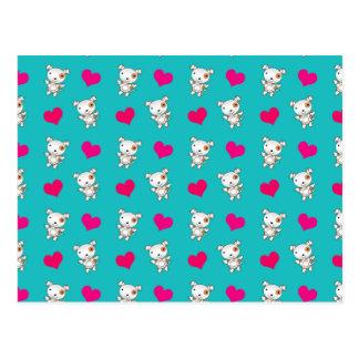 Teste padrão bonito dos corações do cão de cartão postal