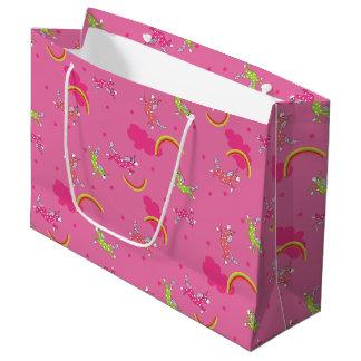 Teste padrão bonito dos desenhos animados do rosa sacola para presentes grande