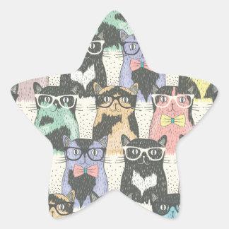 Teste padrão bonito dos gatos do hipster adesito estrela