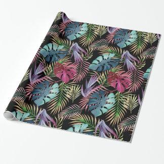 Teste padrão botânico da folha tropical colorida papel de presente