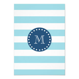 Teste padrão branco azul das listras, monograma convites