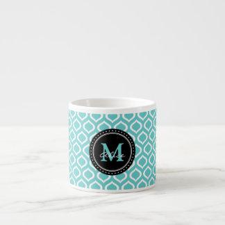Teste padrão branco da treliça do Aqua Xícara De Espresso