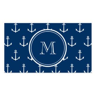 Teste padrão branco das âncoras dos azuis marinhos modelos cartão de visita