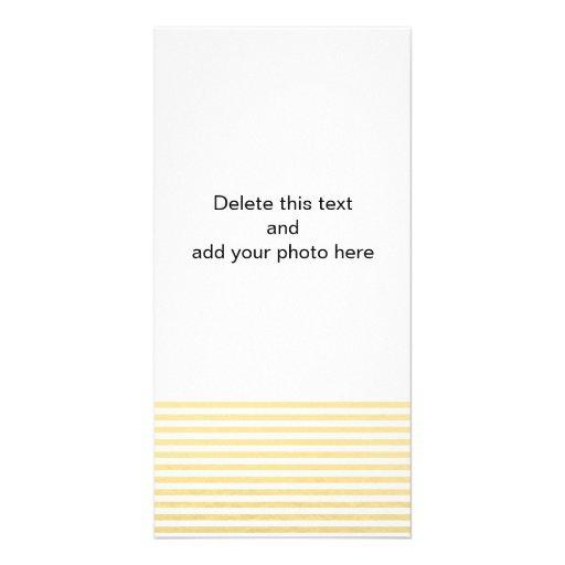 Teste padrão branco das listras da folha de ouro cartao com foto personalizado