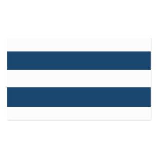 Teste padrão branco das listras dos azuis marinhos cartão de visita