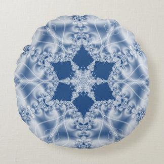 Teste padrão branco do fractal do olhar do cetim almofada redonda