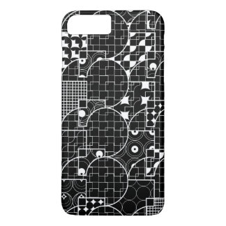 Teste padrão branco geométrico do geek louco no capa iPhone 7 plus