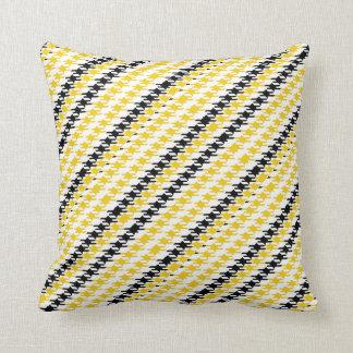 Teste padrão branco preto amarelo brilhante de travesseiro de decoração