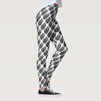 Teste padrão branco preto da forma do sono tribal leggings