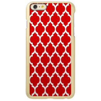 Teste padrão branco vermelho #4 de Quatrefoil do Capa Incipio Feather® Shine Para iPhone 6 Plus