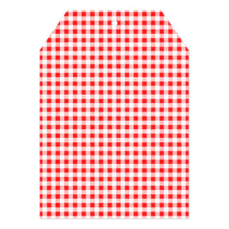 Teste padrão branco vermelho do guingão convite personalizados