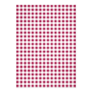 Teste padrão branco vermelho do guingão da baga convites personalizado