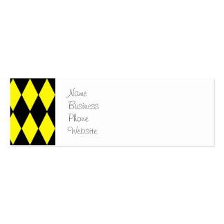 Teste padrão brilhante do Harlequin do amarelo e Cartão De Visita Skinny