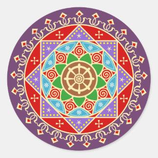 Teste padrão budista da mandala com roda de Dharma Adesivo