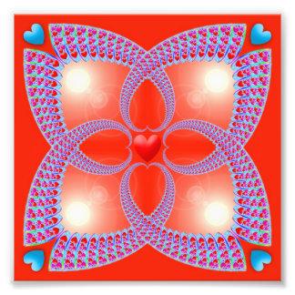 Teste padrão celta vermelho do Fractal do coração Foto