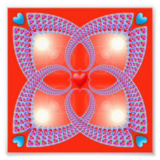 Teste padrão celta vermelho do Fractal do coração Impressão De Foto