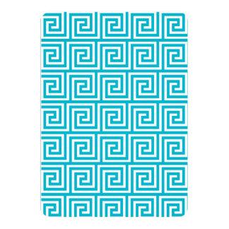 Teste padrão chave grego branco azul do Aqua Convite 12.7 X 17.78cm
