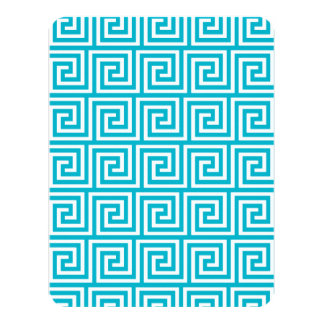 Teste padrão chave grego branco azul do Aqua Convite 10.79 X 13.97cm