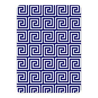 Teste padrão chave grego branco dos azuis marinhos convite 13.97 x 19.05cm