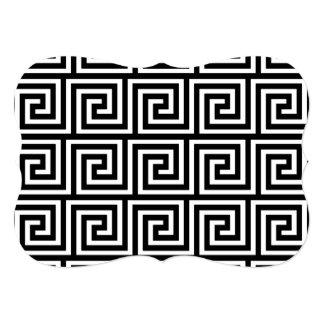 Teste padrão chave grego preto e branco convite 12.7 x 17.78cm