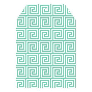 Teste padrão chave grego verde e branco do Lucite Convite 12.7 X 17.78cm