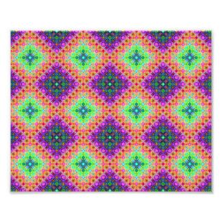 Teste padrão Checkered do Fractal do roxo & do ver Impressão De Foto