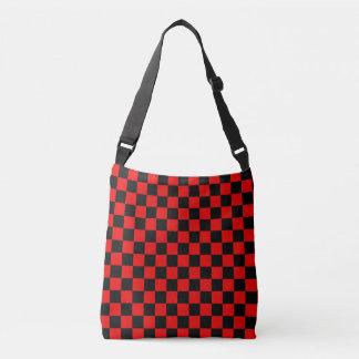 Teste padrão Checkered preto e vermelho Bolsa Ajustável