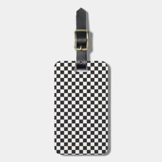 Teste padrão Checkered retro clássico preto e Etiqueta De Bagagem