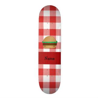 Teste padrão checkered vermelho personalizado do H Shape De Skate 20cm