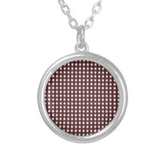 Teste padrão chequered vermelho tradicional, roupa colar banhado a prata