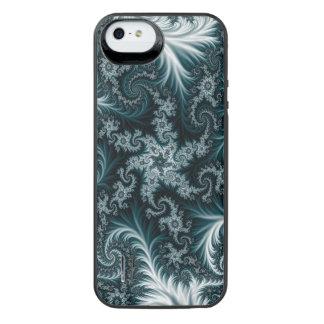 Teste padrão ciano e branco do fractal capa carregador para iPhone SE/5/5s