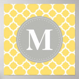 Teste padrão cinzento de Quatrefoil do amarelo do  Pôsteres