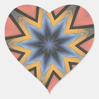 Teste padrão cinzento de Starburst do pêssego Adesivo Coração