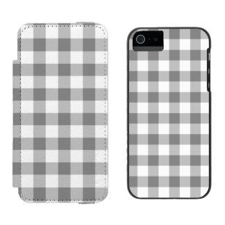 Teste padrão cinzento e branco da verificação do capa carteira incipio watson™ para iPhone 5