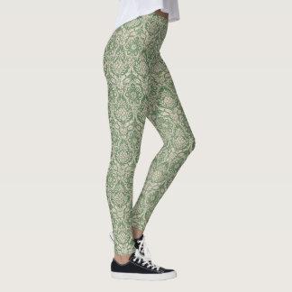 Teste padrão clássico do verde do damasco leggings