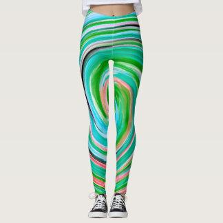 Teste padrão colorido abstrato #3 do Fractal Leggings