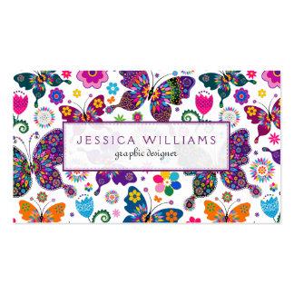 Teste padrão colorido das flores & de borboletas cartão de visita