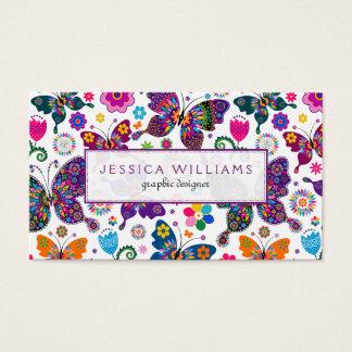Teste padrão colorido das flores & de borboletas cartão de visitas