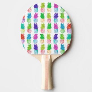Teste padrão colorido do abacaxi da pintura do pop raquete de pingpong